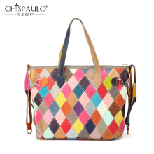 2018 Genuine Leather Women Bags High Quality Large Capacity Ladies Shoulder Bags Multicolor Patchwork Cow Leather Women Handbags