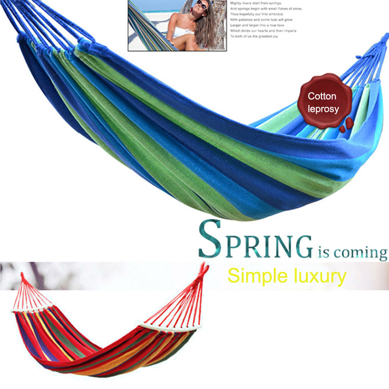 Red Blue Rollover Prevention Bending Stick Home Leisure Travel Hanging Bed Portable Hammock Canvas Stripe Single Person
