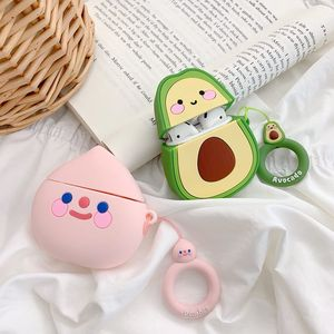 Image 3 - Case For AirPods Cute Cartoon Earphone Cases For Apple Airpods2 Accessories Protect Cover With Finger Ring Strap unique Fruit 3D