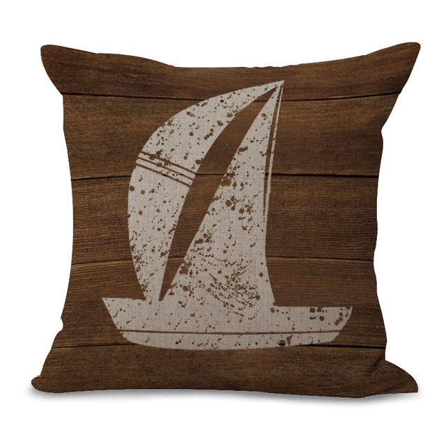 Retro Nautical Style Cotton Cushion Cover