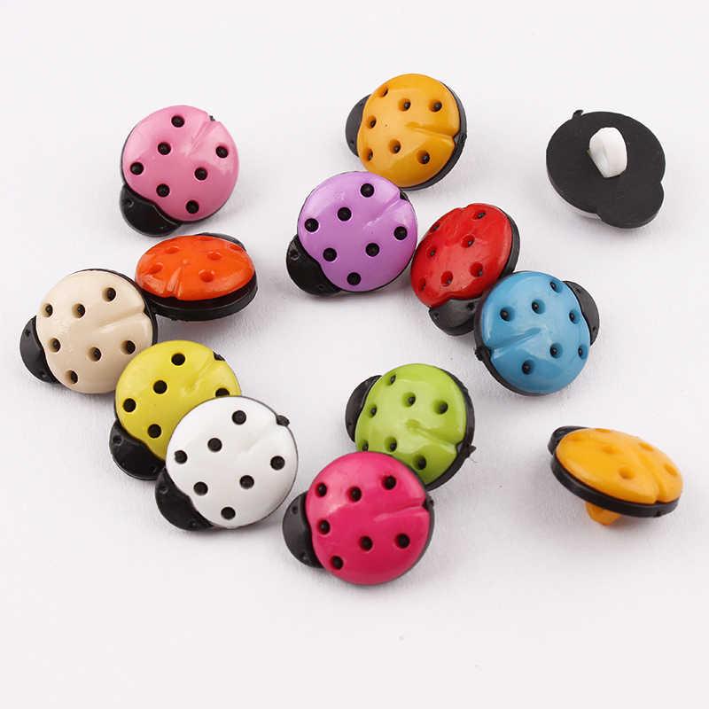 100 sztuk plastikowe guziki biedronka mieszane malowane projekt 1 otwory okrągły dekoracyjny odzież akcesoria guziki 13*16mm