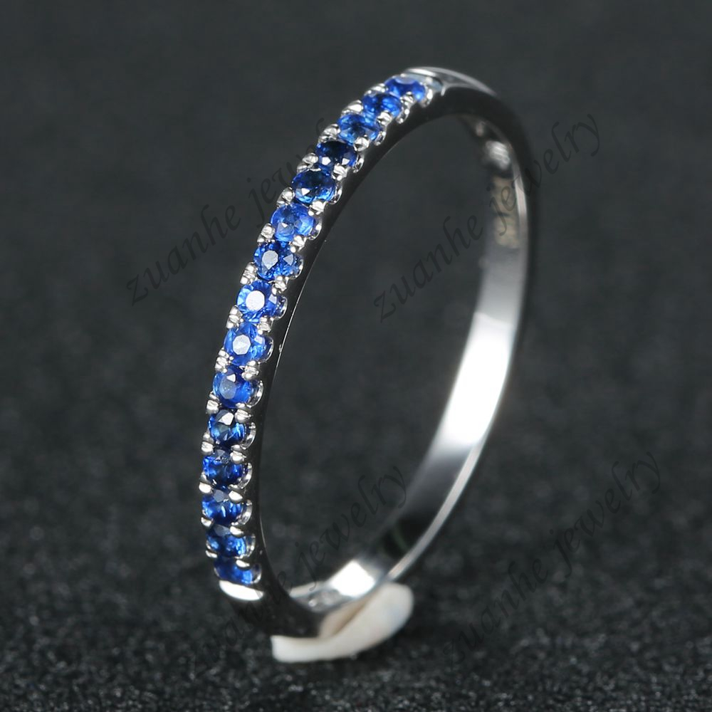 Full Eternity Natural Sapphires Wedding Band Ring Solid 14k White Gold Engagement Ring Women Fine Jewelry цены онлайн