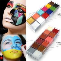 12 Colors Face Painting Face Paint Body Paint Split Cake Rainbow Neon Regular Color Water Based