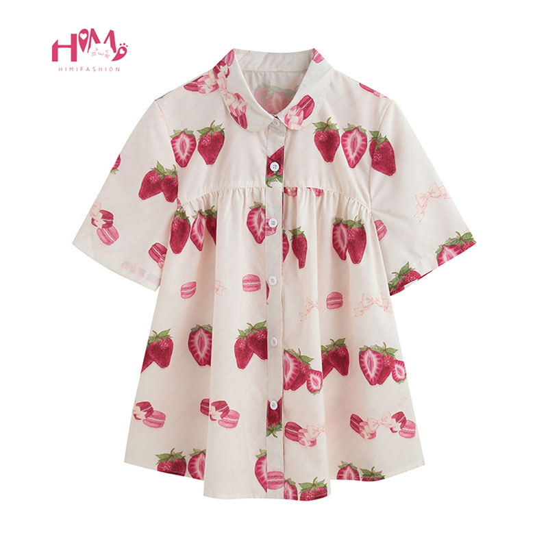 Japan Style Peter Pan Collar Shirts Women Tops Lolita Cute Strawberry Short Sleeve Button Up Baby Doll Girl Pink Blouse White