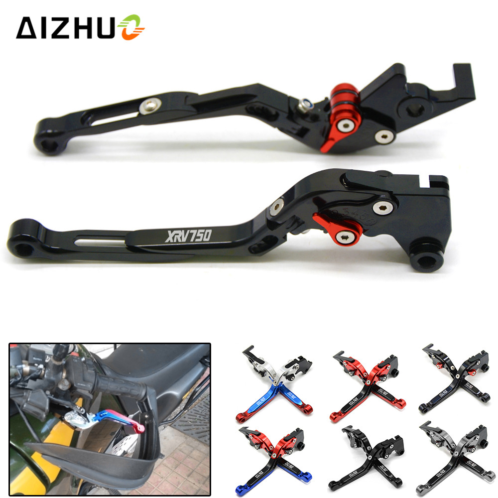 Motorcycle Brake Clutch Lever Extendable Adjustable For Honda XRV750 L-Y Africa Twin 1990-2003 XRV 750 With XRV750 LOGO for honda xrv750 l y africa twin 1990 2003 1991 1992 motorcycle adjustable folding extendable brake clutch levers set xrv 750