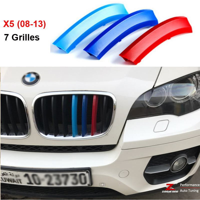 For 2008 to 2013 BMW X5 E70 3D M styling Front Grille Trim Strips grill Cover motorsport  Decoration Stickers car front bumper mesh grille around trim racing grills 2008 2013 for chery a3