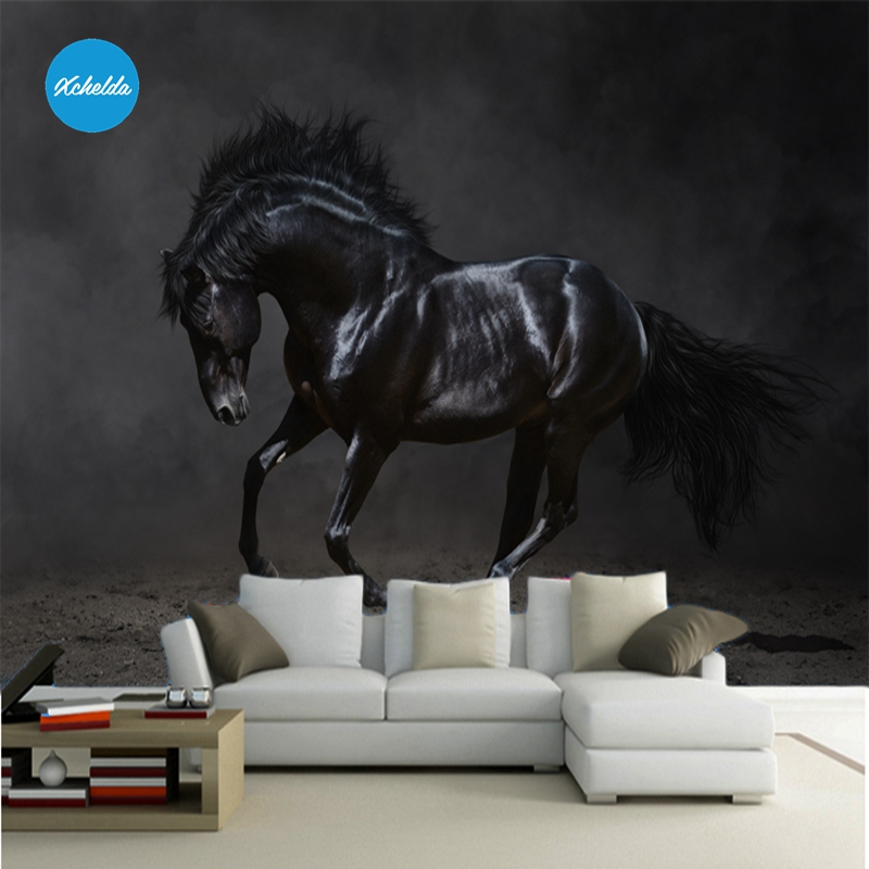 XCHELDA 3D Mural Wallpapers Custom Painting Black Horse Design Background Bedroom Living Room Wall Murals Papel De Parede custom 3d wall murals wallpaper luxury silk diamond home decoration wall art mural painting living room bedroom papel de parede