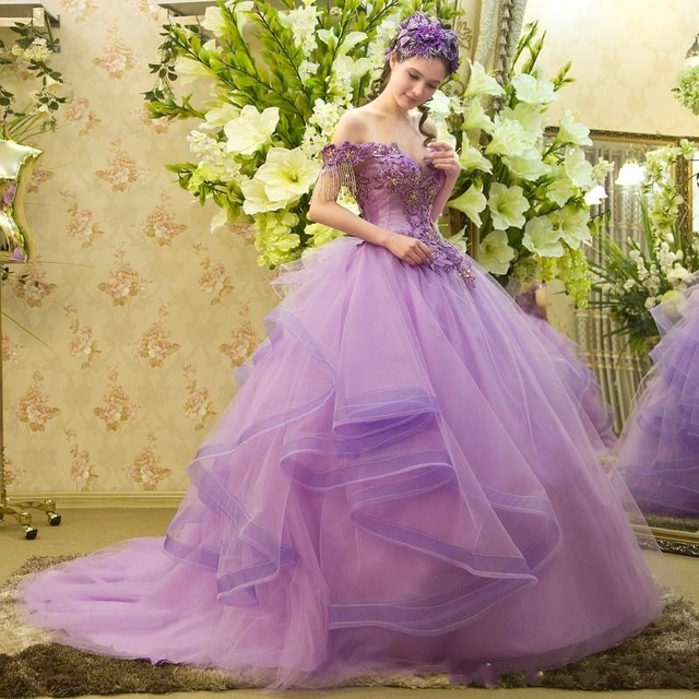 debutante gowns Retro Princess Style Romantic Lilac Prom Dress with ...