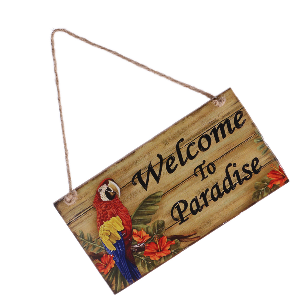 Vintage bienvenue au paradis Plaque en bois panneau avec ficelle de Jute suspendus signes pour la décoration de jardin à la maison