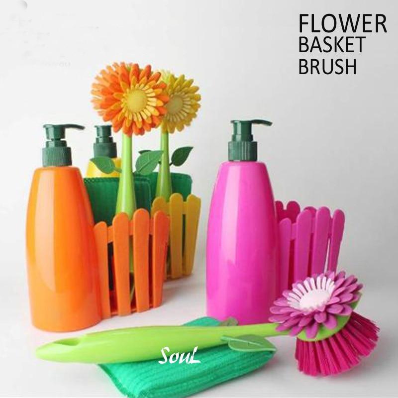 Brand Flower Brush Dish Cleaning Brushes Sponge Soap