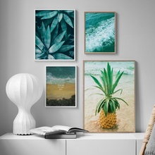 Sea Beach Pineapple Green Aloe Landscape Wall Art Canvas Painting Nordic Posters And Prints Pictures For Living Room Decor