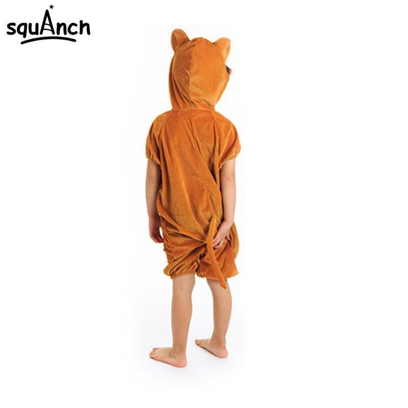 Cartoon Brown Monkey Pajama Kids Halloween Festival Animal Cosplay Costume Short Sleeve Party Suit Children Boy Girl Sleep Wear