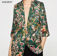 WISHBOP NEW 2017 Vintage Printed Blazer With Three Quarter Length Sleeves Tabs With Snap Buttons Single