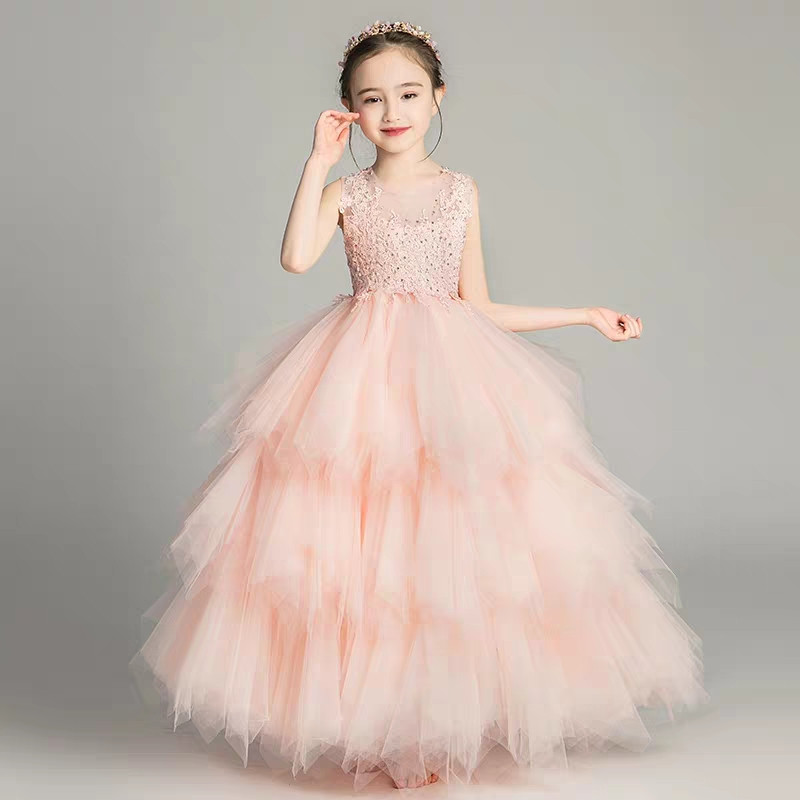 2019Summer Children Girls Noble Luxury Pink White Color Birthday Wedding Party Lace Dress Model Show Kids