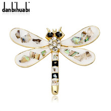 2018 Hot Sale high quality silver dragonfly brooch vintage rhinestone insect brooch for women dress suit jewelry accessories(China)
