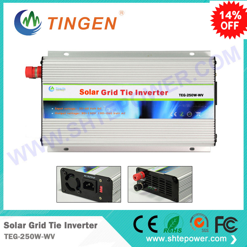 Grid tie solar inverter 250watts 250w New inverter dc 22-60 input to ac output with mppt function 300w solar grid on tie inverter dc 10 8 30v input to two voltage ac output 90 130v 190 260v choice