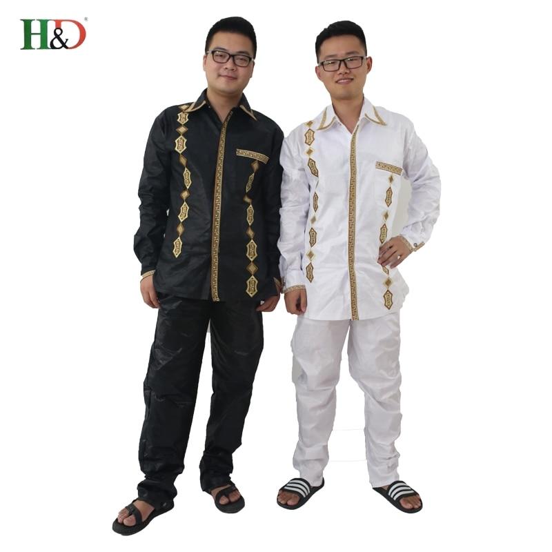 H & D 100% bomull Mens afrikanska män kläder dashiki man kostymer - Nationella kläder - Foto 3