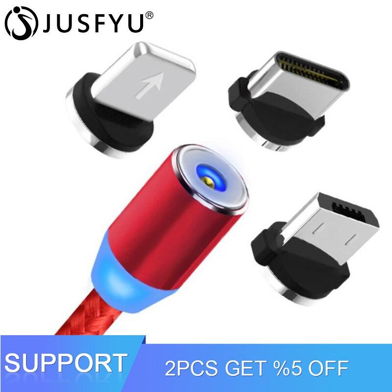 b3bb659fe08 1 M LED magnético Cable de carga Micro USB Cable para iPhone XR XS Max X imán  cargador USB tipo C cable LED Cable de carga
