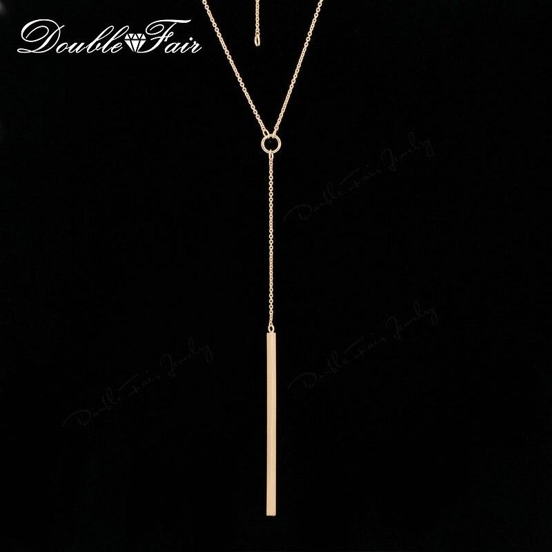 Двойной ярмарка аллергиков простой Y Стиль цепи длинное Ожерелья и Подвески Розовое золото Цвет полосы Бар Сеть ювелирных для Для женщин dfn601