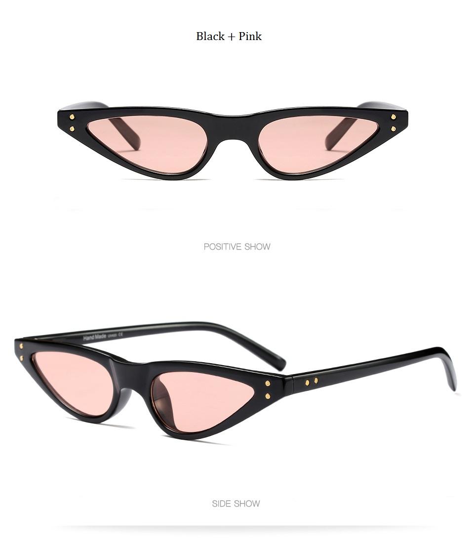 HTB1B4q7dNPI8KJjSspfq6ACFXXai - Unisex Flat Top Eyeglasses Small Triangle Frame Cat Eye Sunglasses Women UV400 2018 Fashion Color Ocean Film Sun Glasses Cool