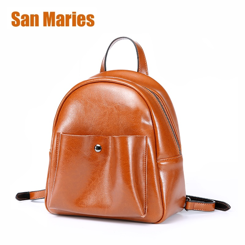 San Maries Fashion Women Leather Backpack for Teengaers Girls Famous Designer School Bags Ladies High Quality Female Backpacks
