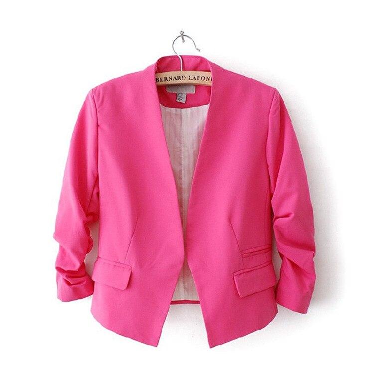 fd5826f6d7 Women Blazers and Jackets 2018 Pink Short Candy Color Blazer Office Ladies  Jacket Blazer Feminino Women s Tops Blazers Mujer-in Blazers from Women s  ...