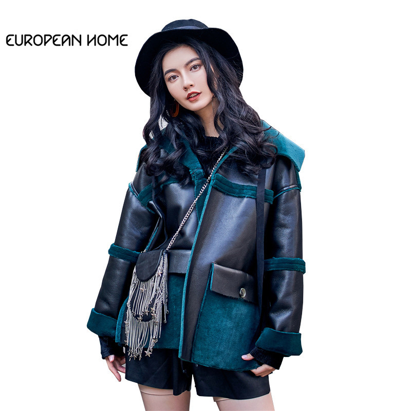 Korean Winter Coat Women Plus Size Locomotive Wind Solid Color Loose Short Section Front Back Wear   Leather   Jacket Women LQ259