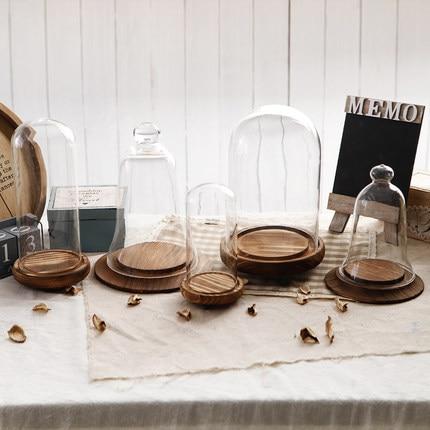 Tavolo In Vetro Con Base In Legno.Tavolo D Epoca Ornamenti Campana Di Vetro Vaso Con Supporto