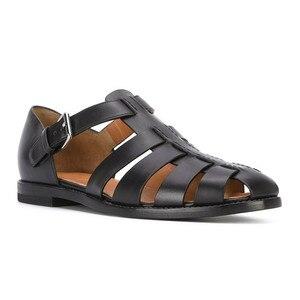 Новые летние мужские рыбацкие сандалии из натуральной кожи с закрытым носком, модные трендовые черные сандалии ручной работы из воловьей к...