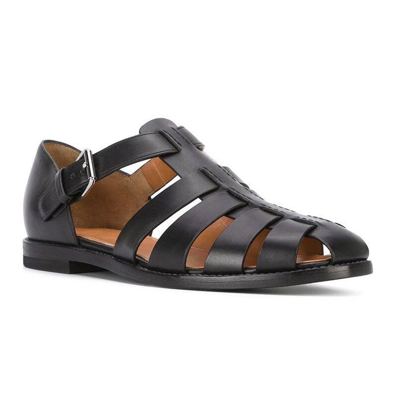 Nuevas sandalias de pescador de cuero genuino para hombre de verano, sandalias modernas de cuero de vaca negro hechas a mano Zapatos KATELVADI, sandalias de gladiador negras para mujer, sandalias de verano para mujer, Sandalias de tacón alto de 8CM con correa en el tobillo, sandalias para mujer, K-317