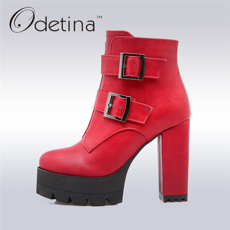 ФОТО Odetina 2017 New Spring Women Double Buckle Boot High Heels Square Thick Heel Ankle Boots Platform Side Zipper Big Size 33-43