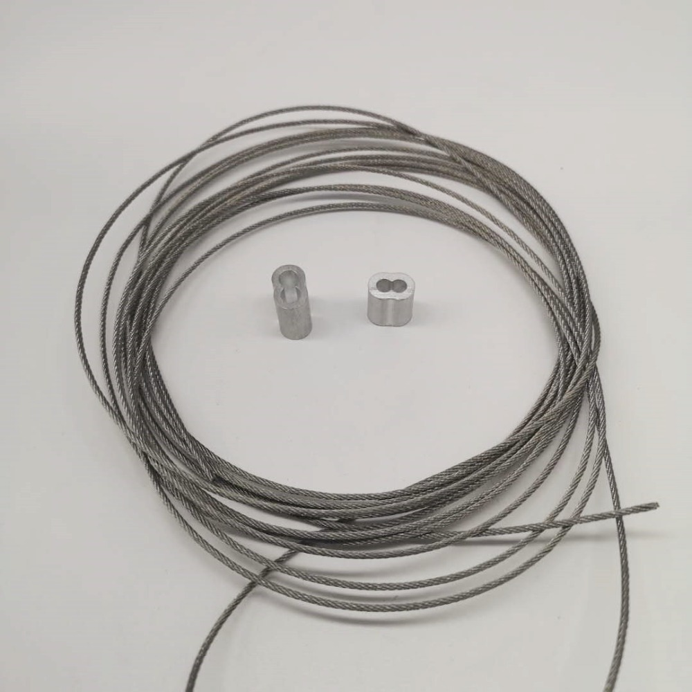 5M 304 Stainless Steel Wire Rope+2PCS Double Aluminium Sleeves For Fishing Lifting 7X7 Structure 0.8mm,1mm,1.2mm,1.5mm,1.8mm,2mm