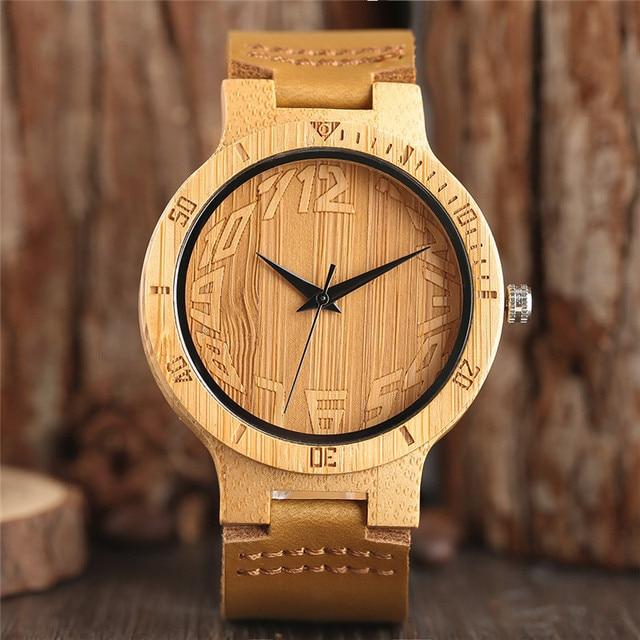 f7deb2eece4 Único Número Spherical Dial Pulseira de Couro Relógio De Pulso De Madeira  de Bambu Relógio de