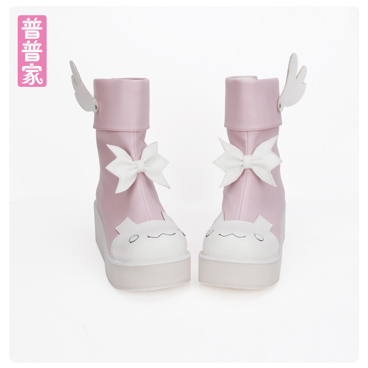 Princess sweet lolita shoes Autumn boots round heads lovely wings and bow tie cute young girls sweet soft sidter boots pu8861 princess sweet lolita shoes royal harajuku pink strawberry bell cute bow round toe pumps for young girl custom color can choose
