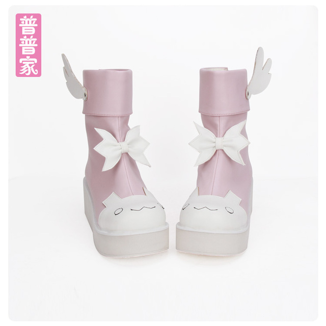 c6ba9c70cfb Princess sweet lolita shoes Autumn boots round heads lovely wings and bow  tie cute young girls sweet soft sidter boots pu8861