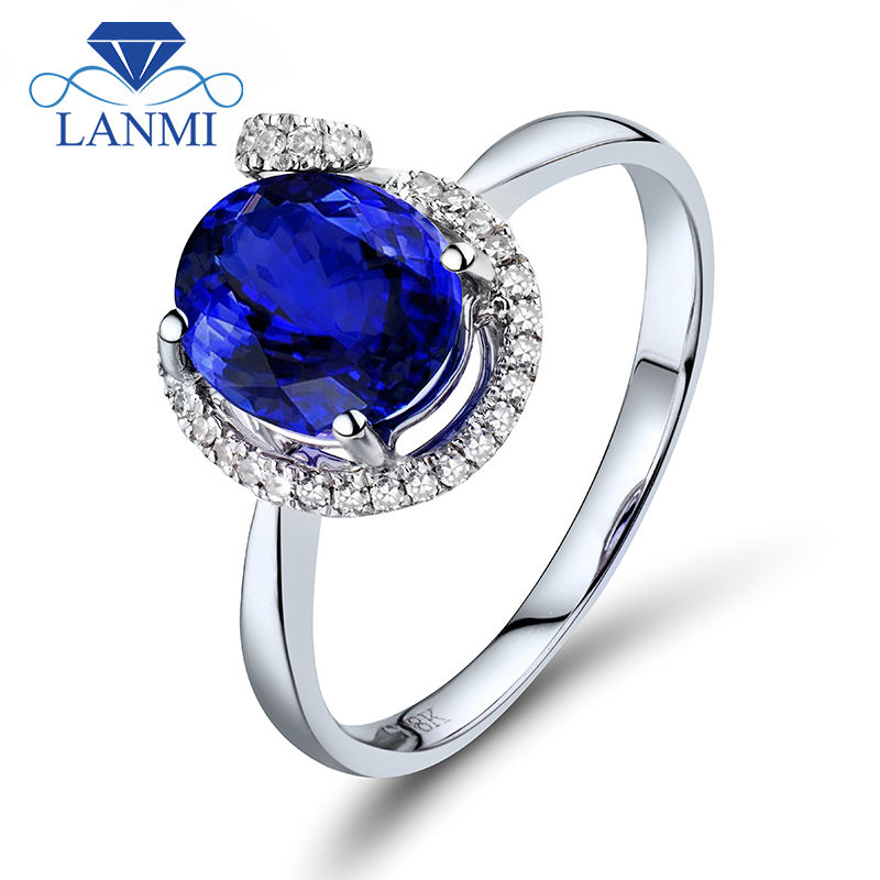 Natural 7x8mm Tanzanite Oval Rings In 18K White Gold Real Diamonds For Birthday Gemstone Jewelry Gift R602
