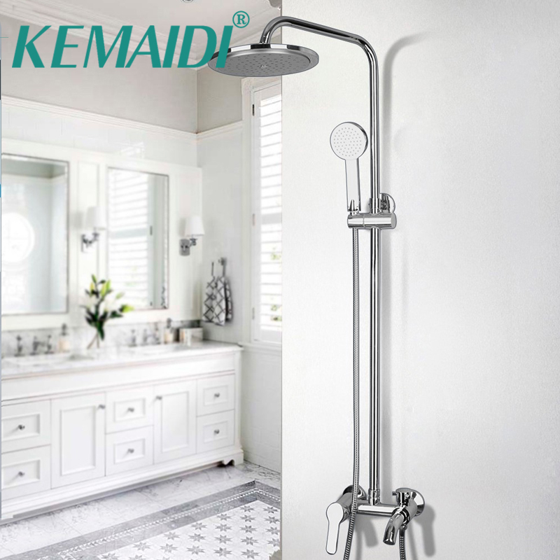 KEMAIDI New Bathroom Faucet Chrome Polished Single Handle Shower Set Hot&Cold Mixers Taps Wall Mounted Rainfall Shower Faucets bathroom wall mounted thermostatic faucets polished chrome hot