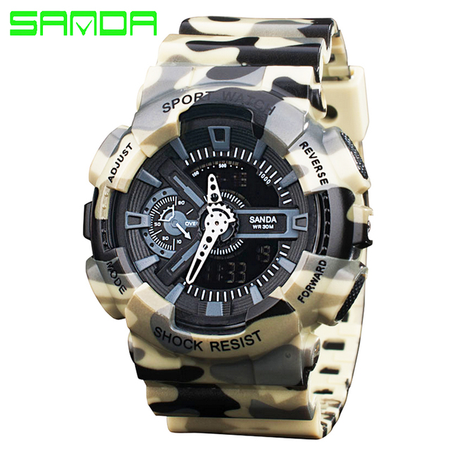 SANDA Dual Display Mens Sports Watches Digital LED Military Watch Men Fashion Casual Electronics Wristwatches