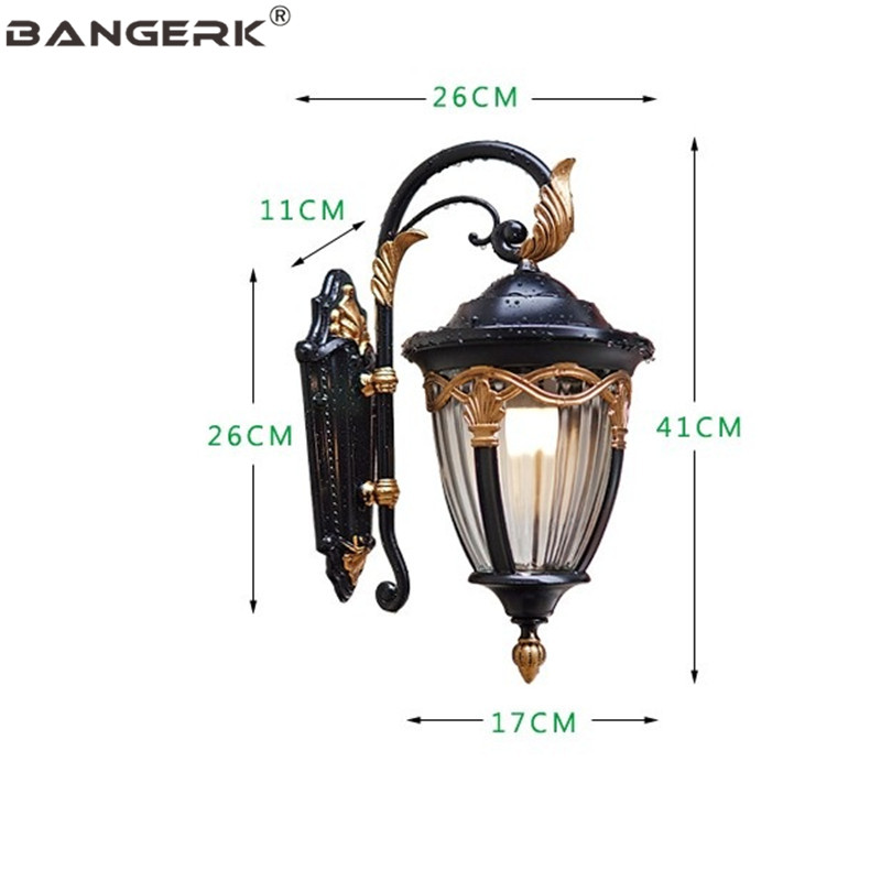 European Retro Garden Wall light Outdoor Aluminium Waterproof LED Lamp Wall Sconce Lighting For Porch Balcony Aisle Luminaire in LED Outdoor Wall Lamps from Lights Lighting
