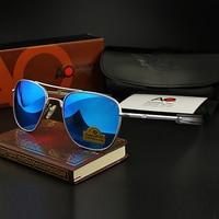 Pilot Sunglasses Men Top Quality Brand Designer AO Mirror Sun Glasses For Male American Army Military Optical Glass Lens YQ1001