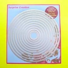 Большие режущие штампы 18,5×18,5 см 11-Piece Basic Circle Скрапбукинг оформление открыток DIY Craft металлический трафарет