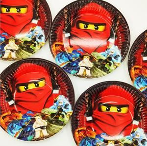 Image 3 - لوازم الحفلة 48 قطعة مجموعة أدوات المائدة لحفلة أعياد الميلاد للأطفال ninjaguing ، 24 قطعة أطباق الحلوى وأكواب 24 قطعة