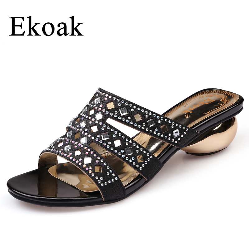 Ekoak New Fashion Summer Party Wedding Shoes Sexy Crystal Women Sandals Ladies Open Toe Med High Heels Shoes Woman Slides new women sandals thin high heels open toe sexy party spring summer women shoes high heels sandals woman lyx7 q10