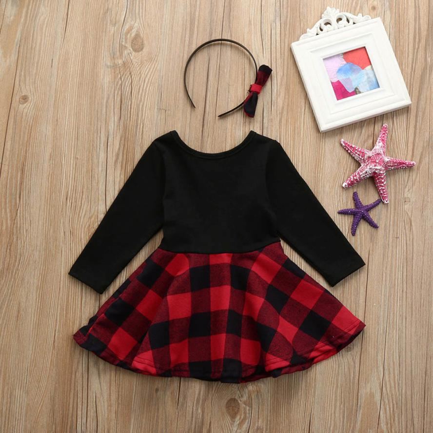 ce61fa50a7ba6 US $5.8 |12M 4T Infant Toddler Baby Girls Plaid A Line Long Sleeve Dresses  with Headbands Clothes Outfits children's dresses for girls-in Dresses from  ...