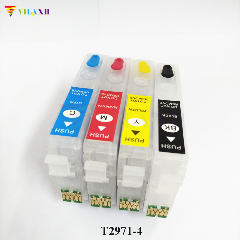 vilaxh T2971 - T2964 Refillable Ink Cartridge For Epson XP231 XP431 XP241 XP-431 XP-231 XP-241 XP 431 231 With One Time Chipvilaxh T2971 - T2964 Refillable Ink Cartridge For Epson XP231 XP431 XP241 XP-431 XP-231 XP-241 XP 431 231 With One Time Chip