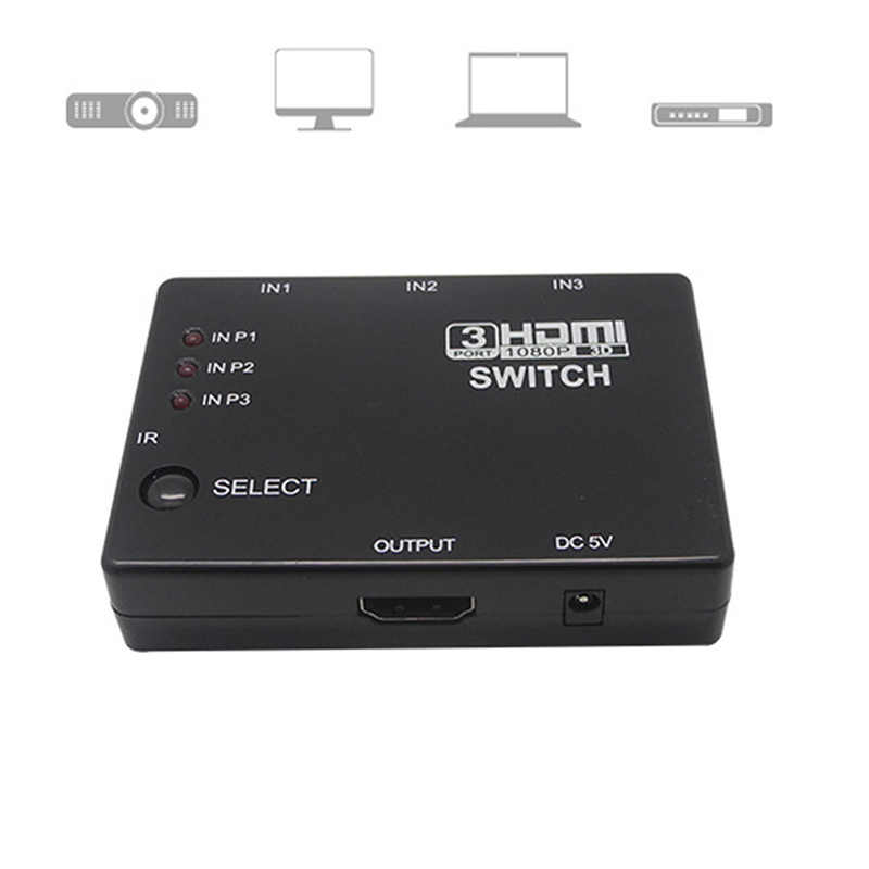 Amplifier Mini 3 Port HDM1.4a Port HDMI Switch Switcher dengan Remote Full HD 1080 P Vedio Splitter untuk Xbox 360 DVD PS3