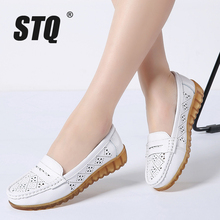 STQ 2020 Autumn Women Genuine Leather Ballet Flats Casual Shoes Women Cutout Slip On Flats Female Loafers Ballerina Flats 18939