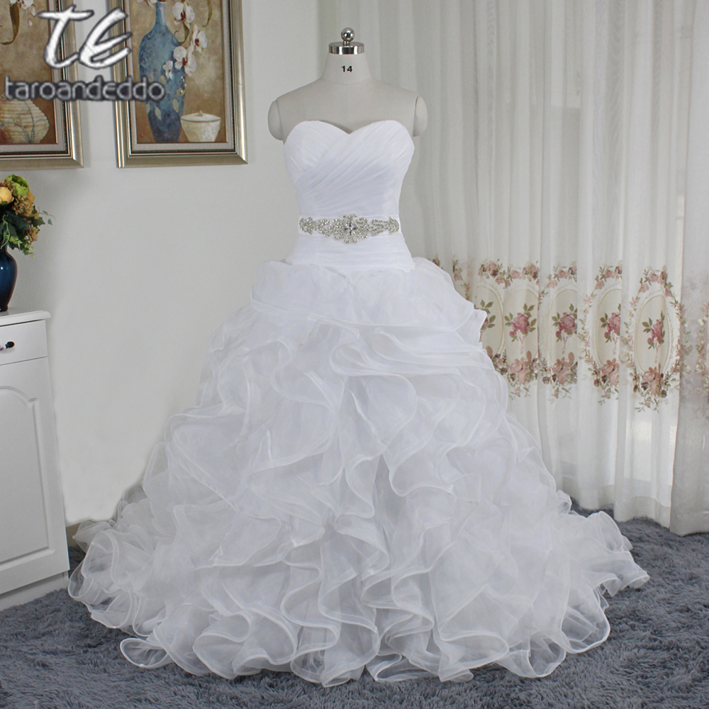 Ruffled Skirt Organza Wedding Gown With Embellished Beading Waist Swg492 Sash Dresses Vestidos Noivain From Weddings: Embellished Organza Wedding Dress At Websimilar.org
