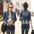 New 2016 Ladies Denim Jackets Letter Outwear Vintage Jeans Jackets Women Fashion Coats Female bomber Jackets jaqueta DC-5627