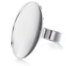 10 Adjustable Oval Cabochon Rings Support silver 18.3mm